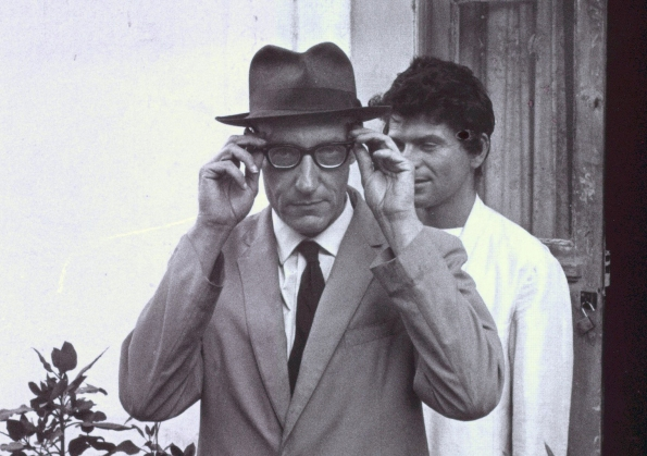 William Burroughs, adjusting glasses in Tangier (cropped). ©Allen Ginsberg LLC, 2013. Creative Commons.